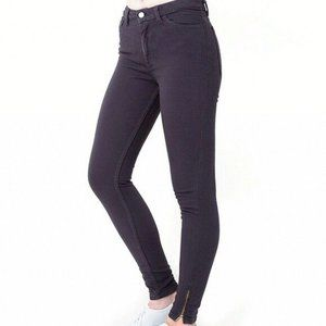 American Apparel High Rise Ankle Zip Skinny Jeans
